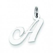 Small Fancy Script Initial A Charm in Sterling Silver