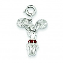 Red Syn Stone Cheerleader Charm in Sterling Silver