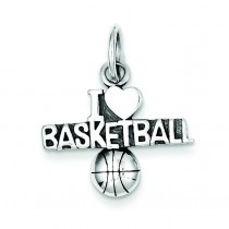 Antique I Heart Basketball Charm in Sterling Silver