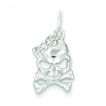 CZ Skull Charm in Sterling Silver
