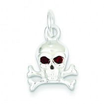 Red CZ Skull Charm in Sterling Silver
