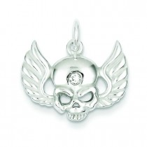 CZ Skull Wings Charm in Sterling Silver