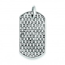 Antiqued Dog Tag Pendant in Sterling Silver