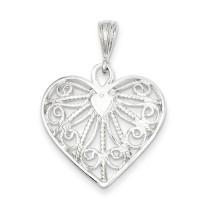 Fancy Heart Charm in Sterling Silver