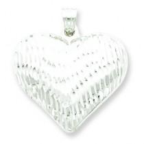 Diamond Cut Puffed Heart Pendant in Sterling Silver