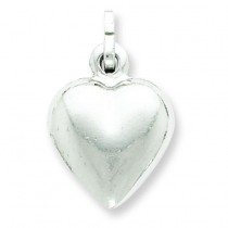 Puffed Heart Charm in Sterling Silver