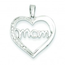Mom CZ Heart Pendant in Sterling Silver