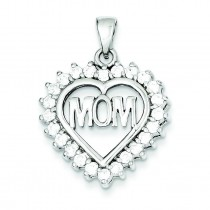 CZ Heart Mom Pendant in Sterling Silver