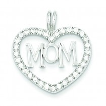 CZ Heart Mom Pendant in Sterling Silver