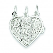 Best Friends Piece Break Apart Heart Charm in Sterling Silver
