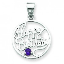 Amethyst Happy Birthday Pendant in Sterling Silver