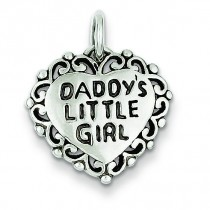 Antiqued Daddy Little Girl in Sterling Silver