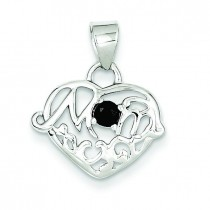 Sapphire Mom Heart Pendant in Sterling Silver