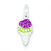 Pink Green CZ Ice Cream in Sterling Silver