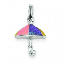 Enamel Umbrella Charm in Sterling Silver