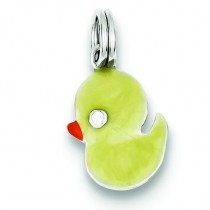 Enamel Duck Charm in Sterling Silver