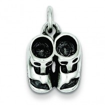 Antiqued Baby Shoes Charm in Sterling Silver