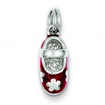 Red Enamel Shoe Charm in Sterling Silver