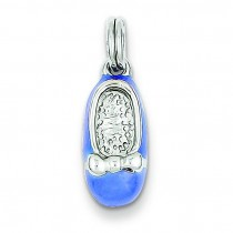 Blue Enamel Shoe Charm in Sterling Silver