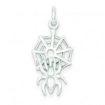 Spider On Web Charm in Sterling Silver