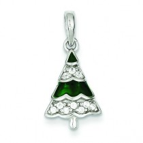 CZ Christmas Tree Pendant in Sterling Silver