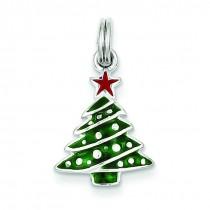 Enamel Christmas Tree Charm in Sterling Silver