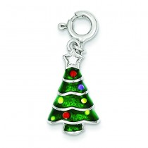 CZ Christmas Tree Charm in Sterling Silver