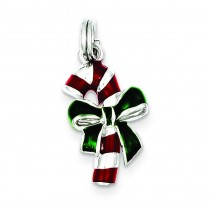 Enamel Candy Cane Charm in Sterling Silver