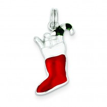 Enamel Stocking Charm in Sterling Silver