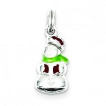 Enamel Snowman Charm in Sterling Silver
