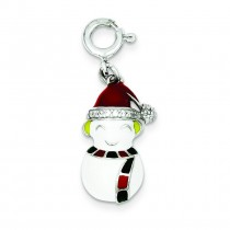 CZ Snowman Charm in Sterling Silver