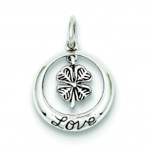 Antiqued Shamrock Love Charm in Sterling Silver