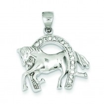 Horse Horseshoe CZ Pendant in Sterling Silver