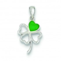 Green Four Leaf Clover Pendent in Sterling Silver