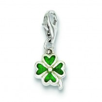 Green Four Leaf Clover Charm in Sterling Silver