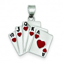 Enamel Royal Flush Pendant in Sterling Silver