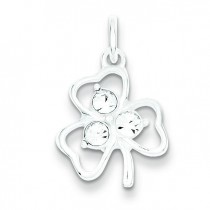 Clear CZ Shamrock Charm in Sterling Silver