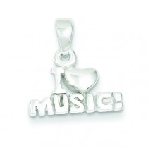I Love Music Pendant in Sterling Silver