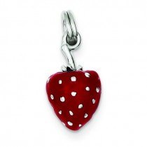 Red Enamel Strawberry Charm in Sterling Silver