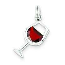 Red CZ Wine Glass Charm in Sterling Silver
