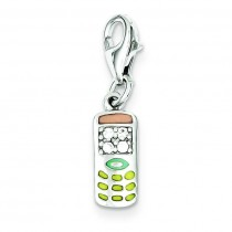 CZ Cell Phone Charm in Sterling Silver