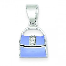 Blue Enamel Purse Pendant in Sterling Silver