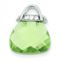 Green CZ Purse Pendant in Sterling Silver