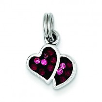 Pink Red CZ Hearts Charm in Sterling Silver
