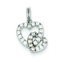 CZ Heart Charm in Sterling Silver