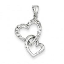 Heart CZ Pendant in Sterling Silver