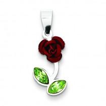 Red Enamel Green CZ Rose Charm in Sterling Silver