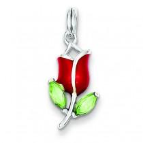 Green CZ Red Enamel Flower Charm in Sterling Silver
