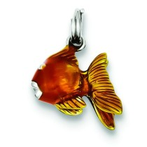 Enamel Goldfish Charm in Sterling Silver