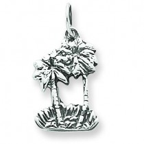 Double Palm Tree Charm in Sterling Silver